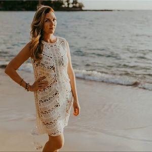 White Crochet Dress & Coverup with Melon Slip